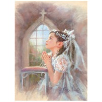 First Communion Girl with Rosary