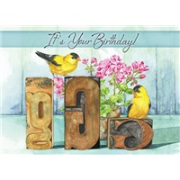 Goldfinches  by Geraniums