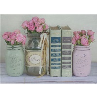 Books and Rose Vases