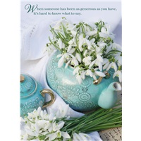 Snowdrops in Teal Teapot