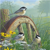 Wheel with Chickadees