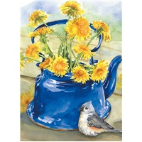 Blue Teapot with Dandelions